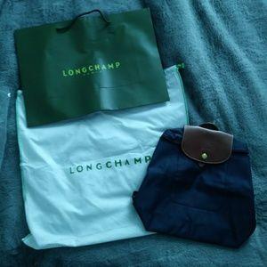 Longchamp navy Le Pliage backpack